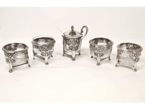 4 solid silver salt cellars mustard Rooster Swan palmettes First Empire XIX