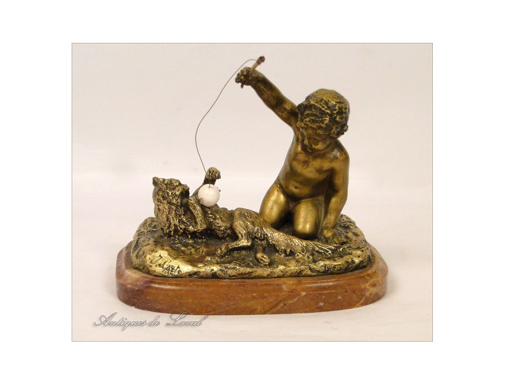 Gilded Bronze Sculpture Child And Cat J D Aste 19th
