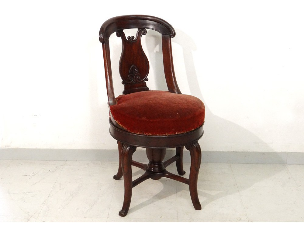 Rare chair mahogany lyre harp palmette jacob restoration for Unusual chairs