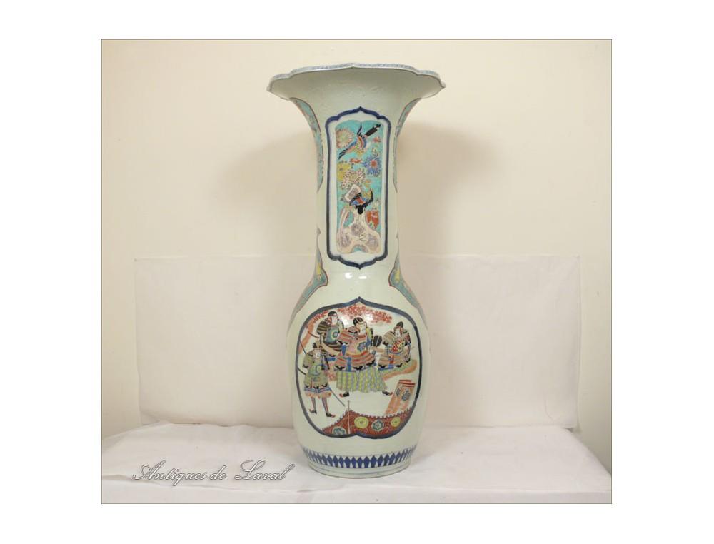Large Japanese Vase 92 Cm Samurai Butterfly Meiji Nineteenth