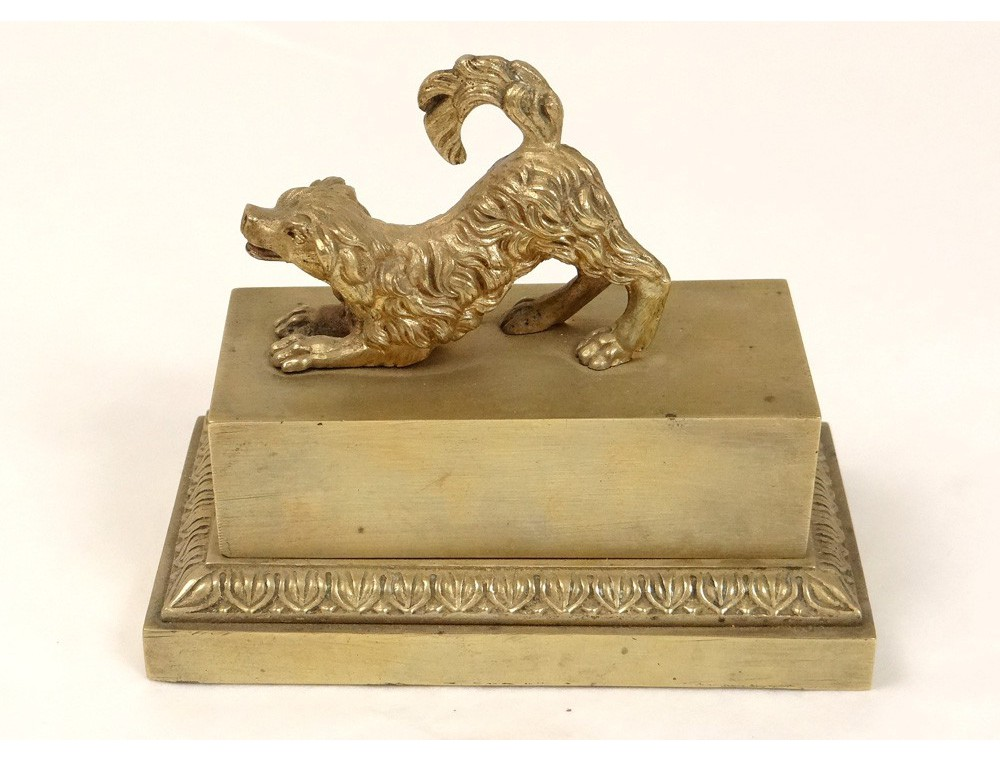Gilt bronze inkwell dog food french antique inkwell for 19th century french cuisine