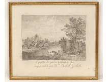 English garden landscape charcoal drawing Villette Blois E.Guibert nineteenth century