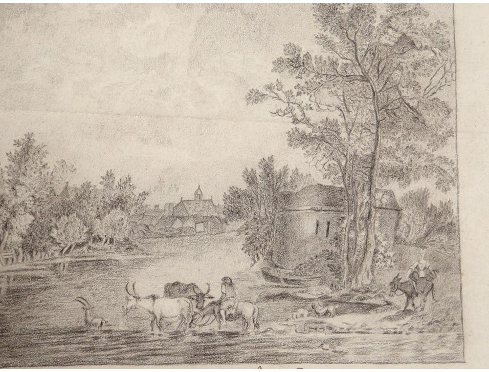 English Garden Landscape Charcoal Drawing Villette Blois E