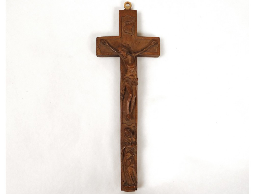 Wooden Reliquary Cross Crucifix Carved Virgin Mary Jesus