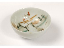 Small bowl miniature Chinese porcelain boat landscape signed chinese nineteenth