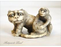 Carved ivory netsuke, Tiger and Monkey, Japan, nineteenth