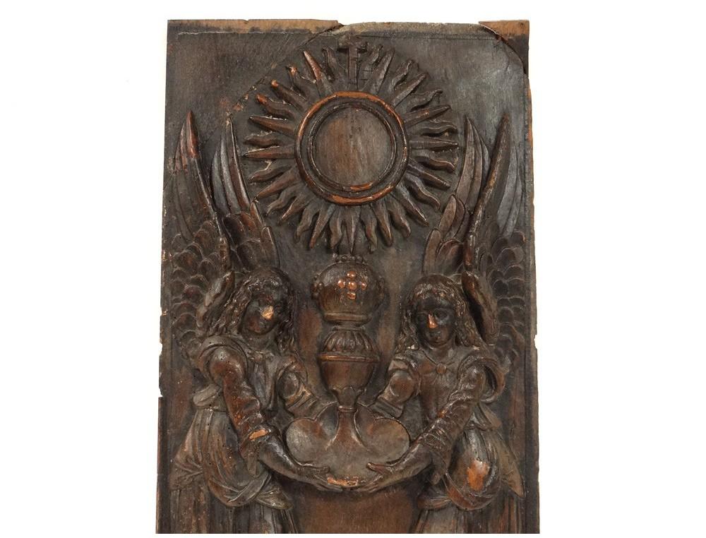 Wood Panel Carved Cherubs Monstrance Religious Scene