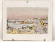 Watercolor landscape Saint-Cado Etel river bridge Lorois Castaing Britain twentieth