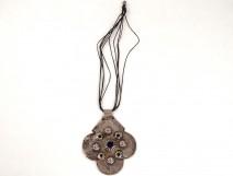 Sterling silver pendant necklace tazra cabochons Morocco Maghreb Sahara twentieth
