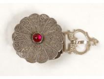 Belt buckle sterling silver cabochon Fekroun Morocco Maghreb Sahara twentieth