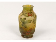 Vase glass paste Daum Nancy Art Nouveau leaves berries nineteenth century