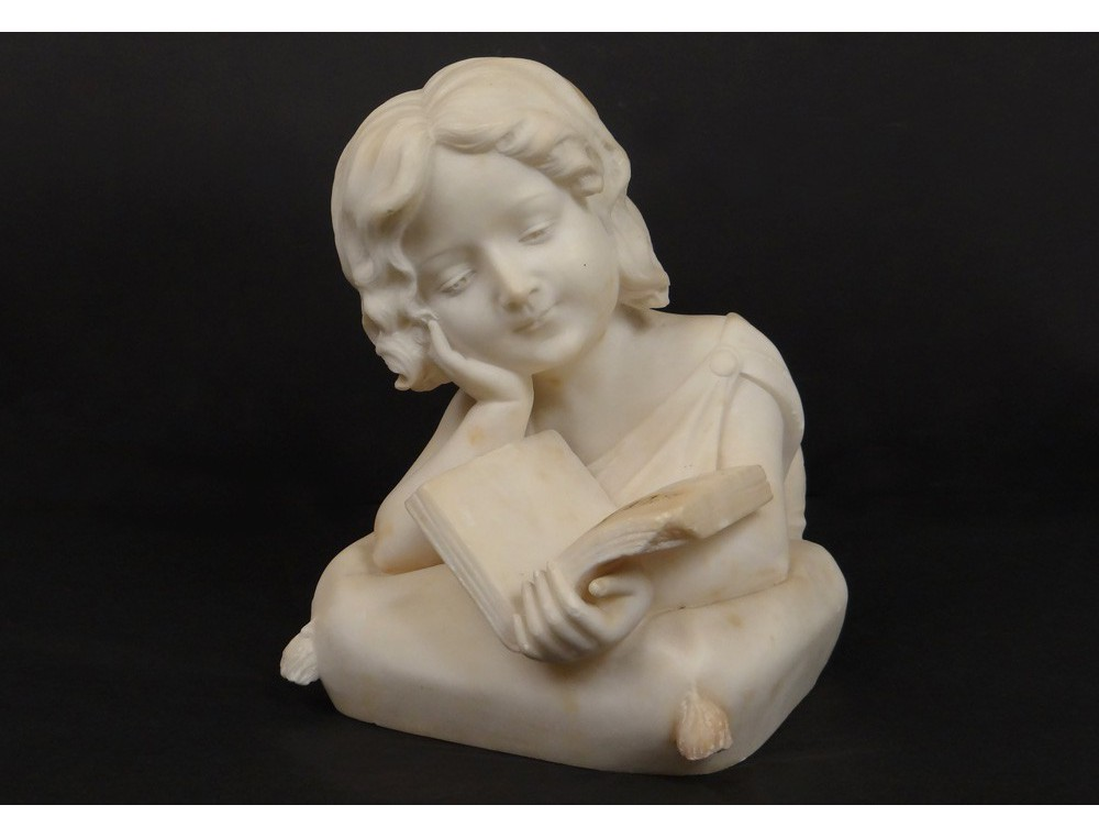 Carrara Marble Bust Sculpture Toddler Girl Studiosa Book Xix