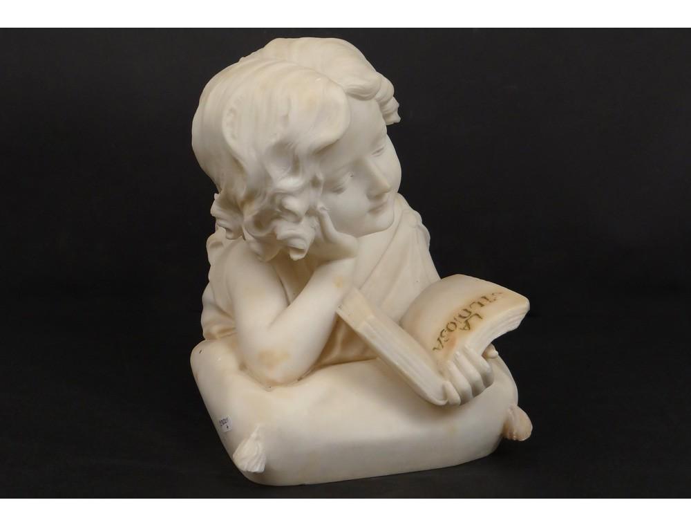 Carrara Marble Bust Sculpture Toddler Girl Studiosa Book Xix