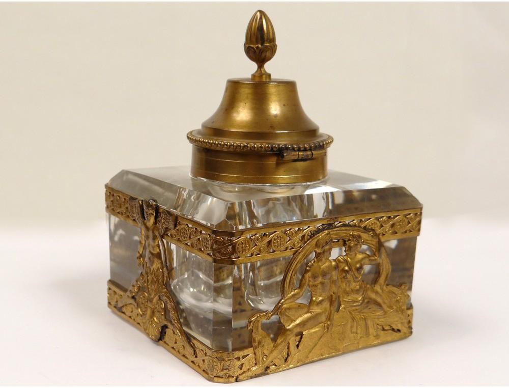 Crystal inkwell brass cherub god goddess golden palmette ...