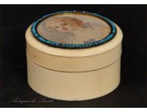 Miniature painted ivory box nineteenth
