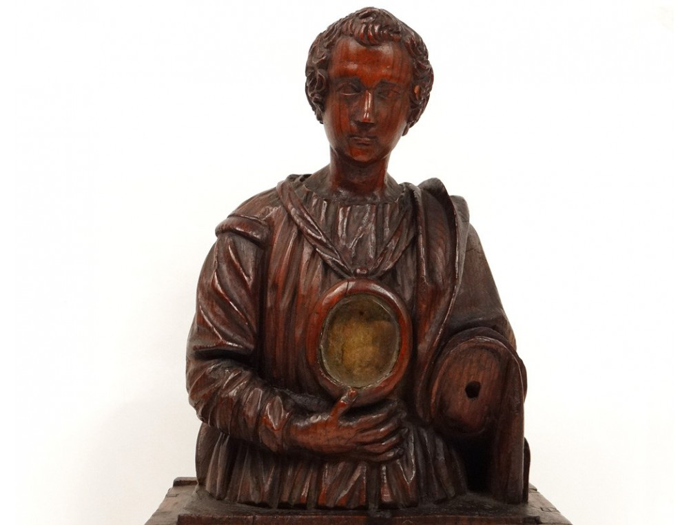 Beautiful Carved Wooden Reliquary Bust Reliquary Saint