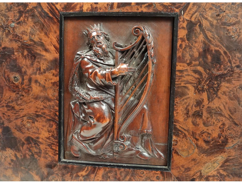 Bas relief carved panel king david harp israel magnifying
