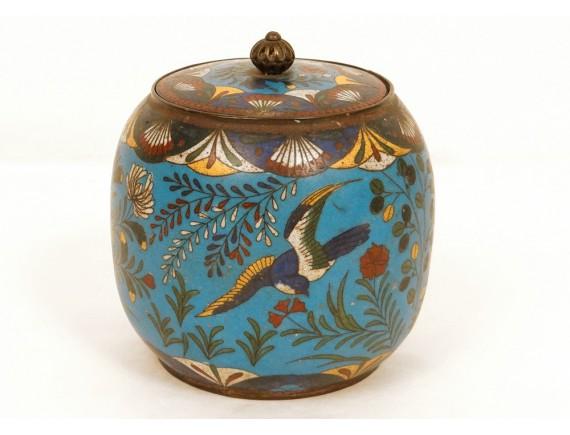 Cloisonne Enamel Pot Covered Box Bird Flowers Enamel