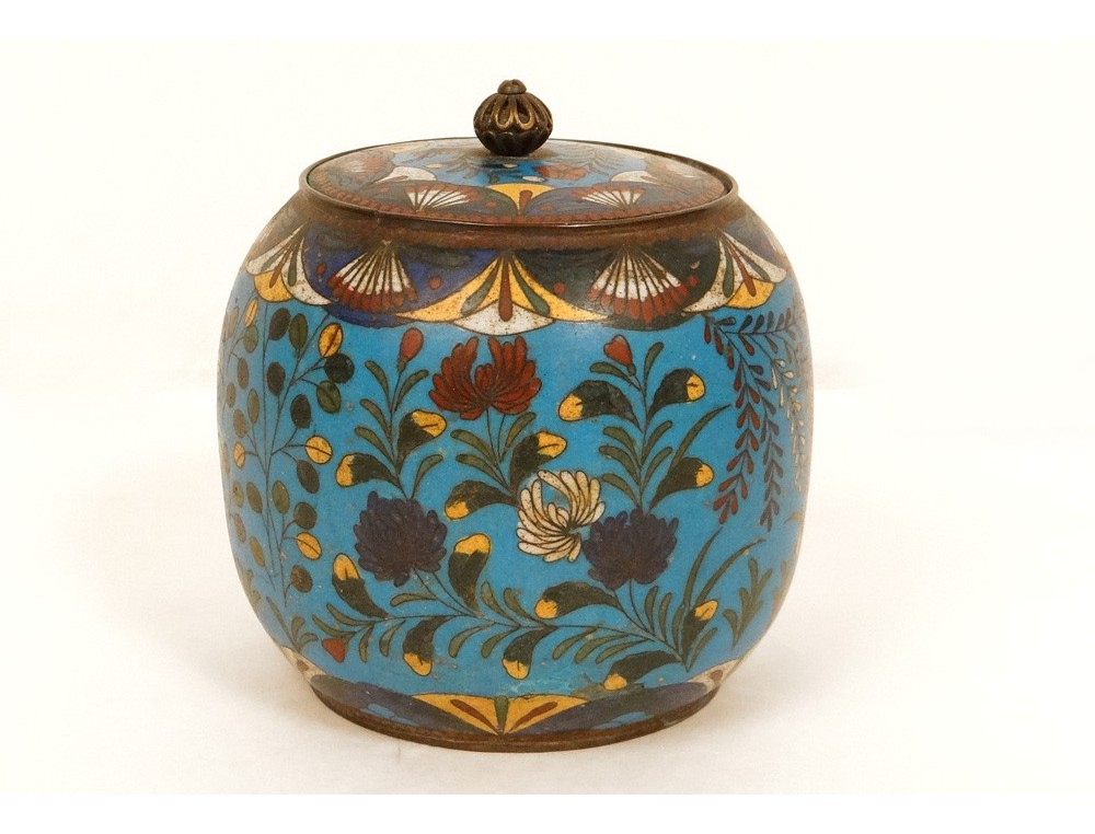 Cloisonne enamel pot covered box bird flowers enamel ...