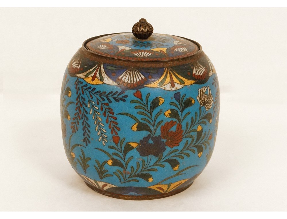 Cloisonne Enamel Pot Covered Box Bird Flowers Enamel
