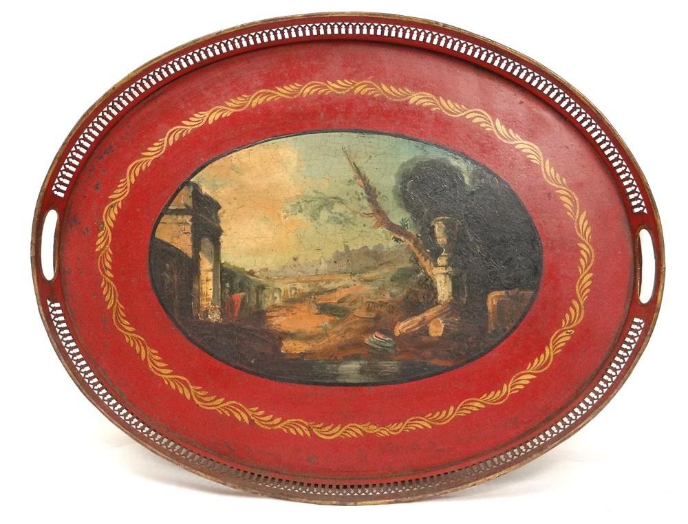 Plateau tôle peinte paysage romantique Italie temple Napoléon III ...
