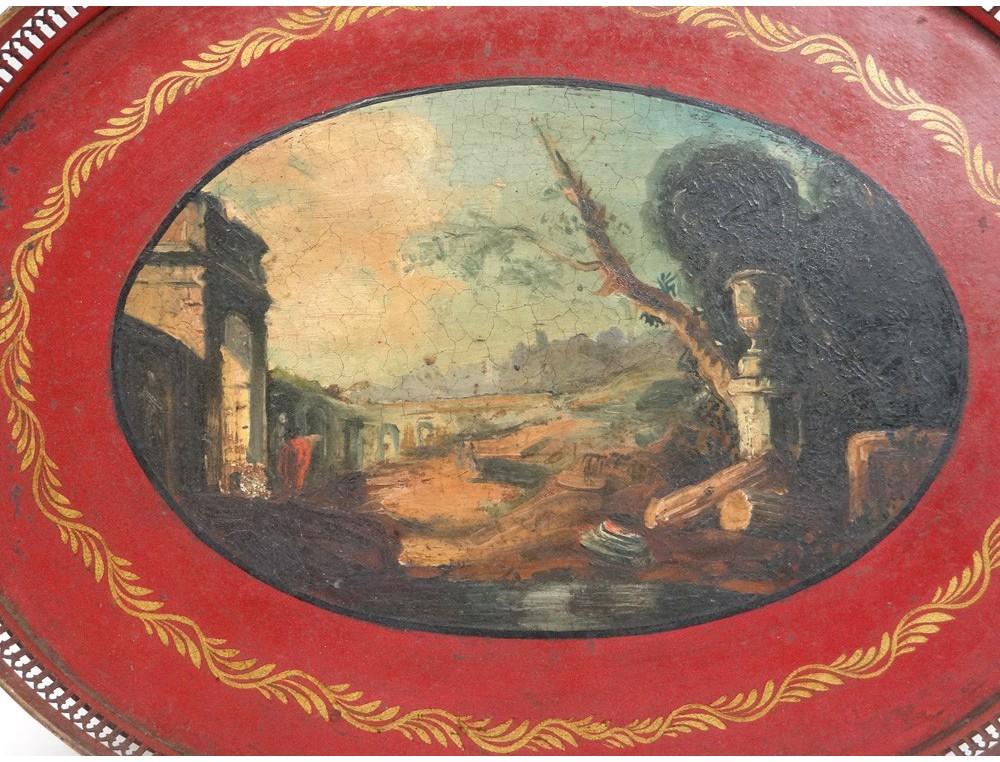 plateau landscape painted metal temple romantic italy napoleon iii nineteenth. Black Bedroom Furniture Sets. Home Design Ideas