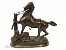 Bronze sculpture, horse and dog, DELABRIERRE, 19th
