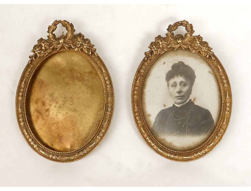 Pair miniature picture frames door gilt brass crown node NapIII ...