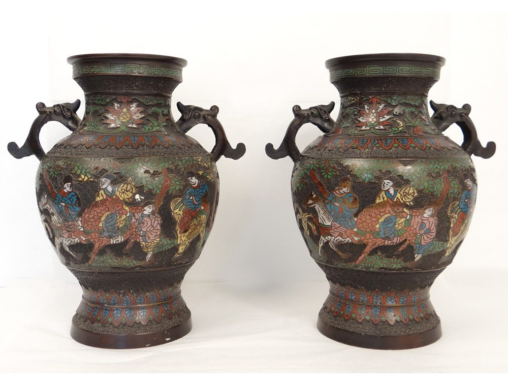 Fabuleux China cloisonne vases pairs bronze figures dragons horses  GS11