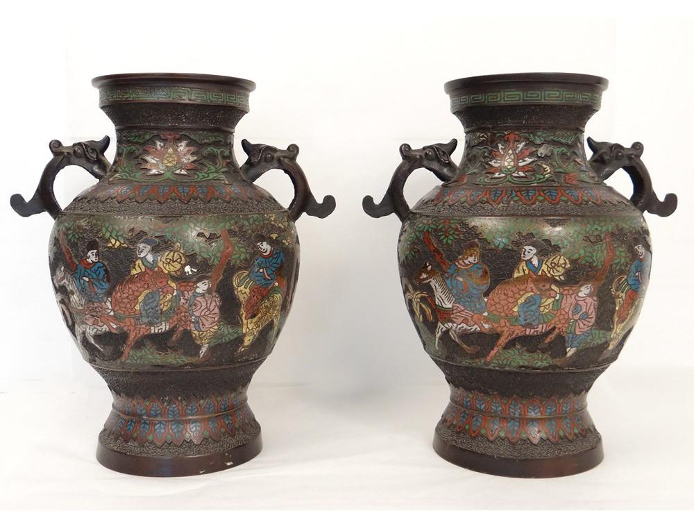 Bien connu China cloisonne vases pairs bronze figures dragons horses  AY65
