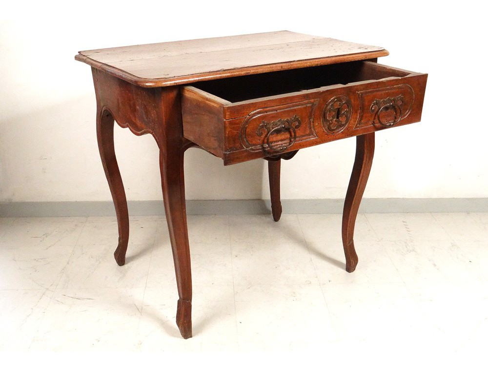 table louis xv carved cherry wood curved legs lyon eighteenth century. Black Bedroom Furniture Sets. Home Design Ideas