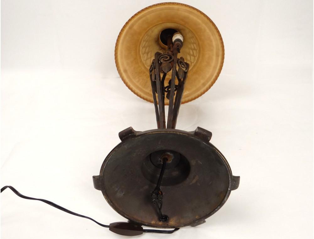 Superbe Lampe De Table Art Deco Fer Forge Bronze Verre Fleurs Xxeme
