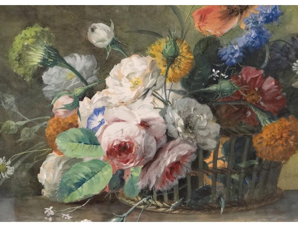 Favori Aquarelle tableau A.Chaplin bouquet de fleurs nature morte  XF89
