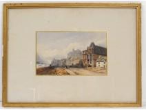 Aquarelle paysage village Autriche montagnes château Duprat XIXème siècle