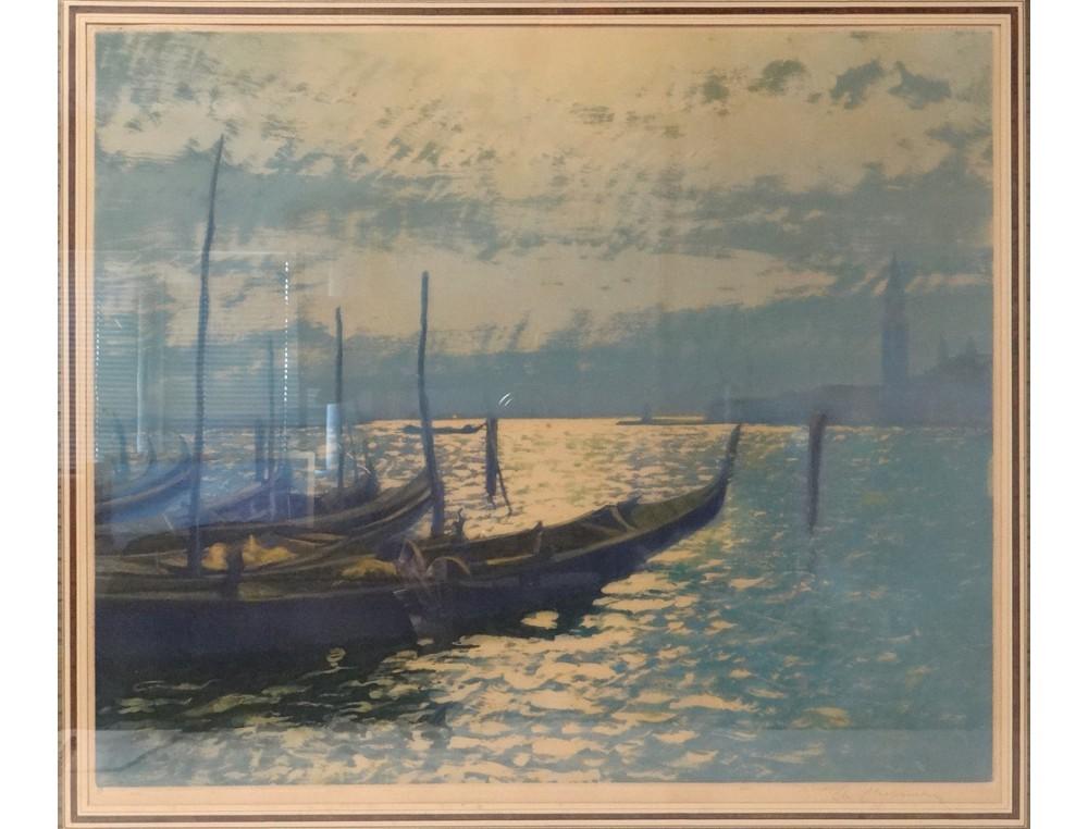 Lithographie Lagune Venise Gondoles Campanile Chabanian
