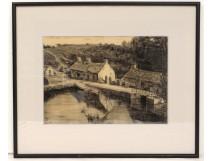 Dessin fusain moulin marée Morbihan Locmariaquer rivière Auray Touzé XXème