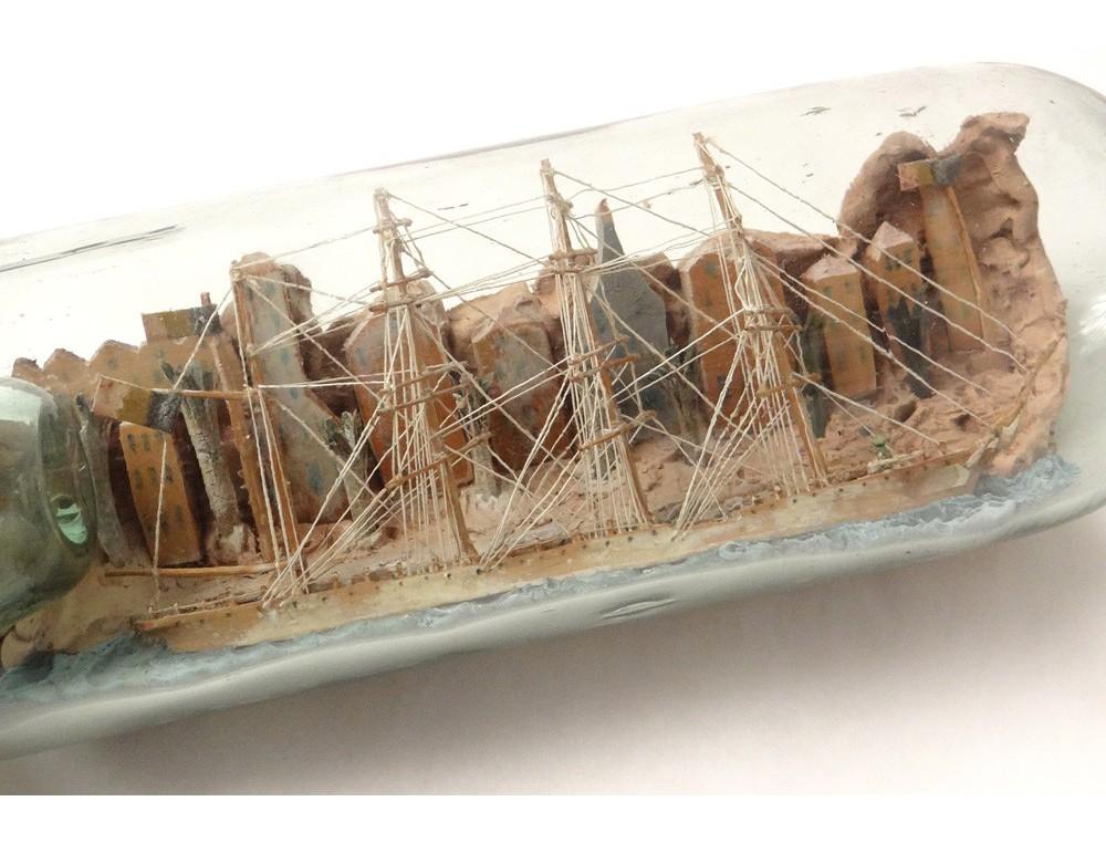 Maquette bateau bouteille 4 m ts diorama village maisons for Maquette de maison