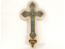 Bénitier croix crucifix émaux cloisonnés marbre enamel fleurs XIXème siècle