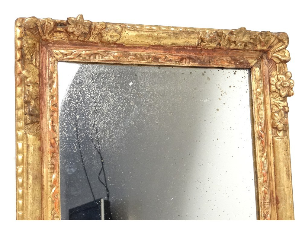 Carved wooden mirror frame golden flowers frame ice Regency eighteenth century Antiques de Laval # Cadre Bois Sculpté