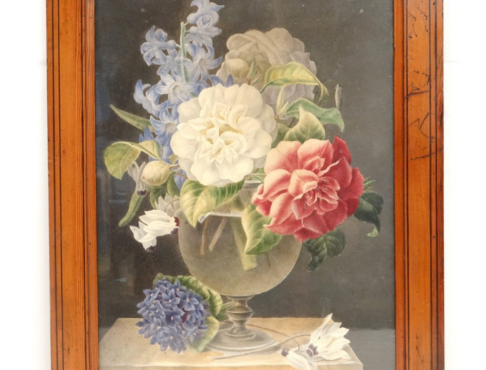 Favori Aquarelle tableau nature morte bouquet de fleurs watercolor XIXème  XF89