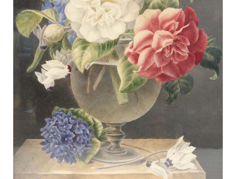aquarelle tableau nature morte bouquet de fleurs watercolor xix me si cle. Black Bedroom Furniture Sets. Home Design Ideas
