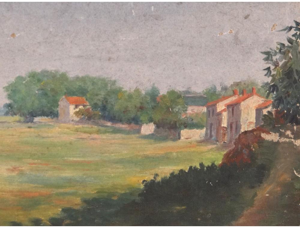Hst Tableau Paysage Campagne Village Calvaire Bord Loire