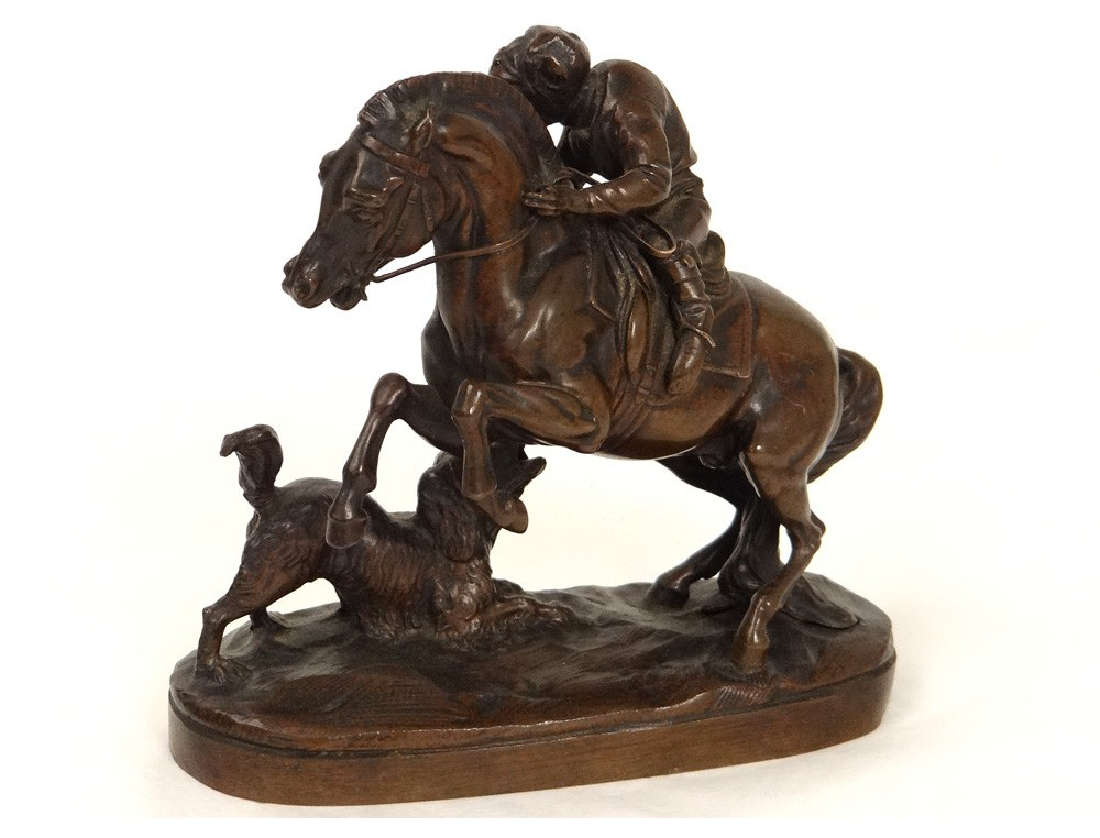 Sculpture Bronze Singe Jockey Cheval Chien Paul Gayrard