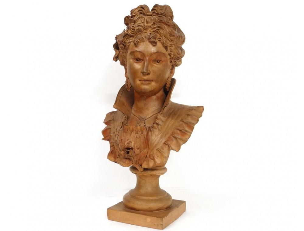 terracotta bust sculpture elegant woman belle epoque art nouveau xixth