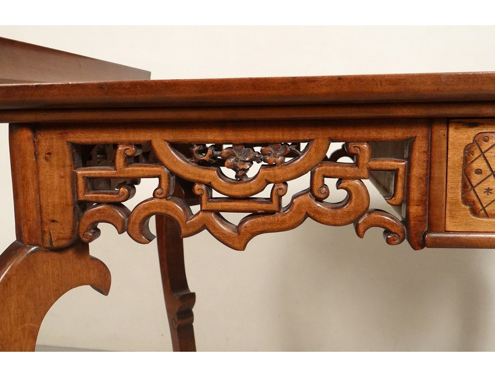 Chinese characters carved wooden office chair flowers nineteenth bird table Antiques de Laval # Chaise Bureau Bois