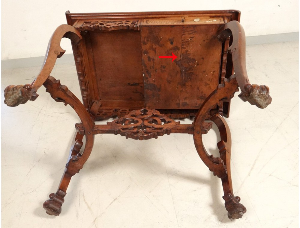 Chinese Characters Carved Wooden Office Chair Flowers