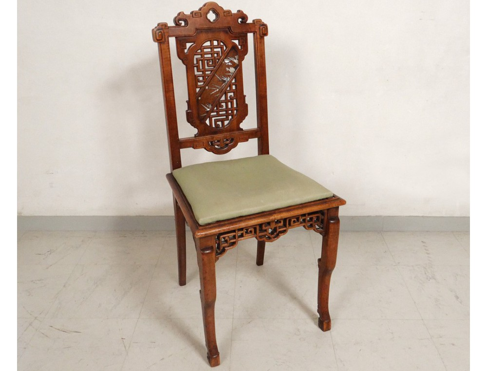 Chinese Characters Carved Wooden Office Chair Flowers Nineteenth Bird Table
