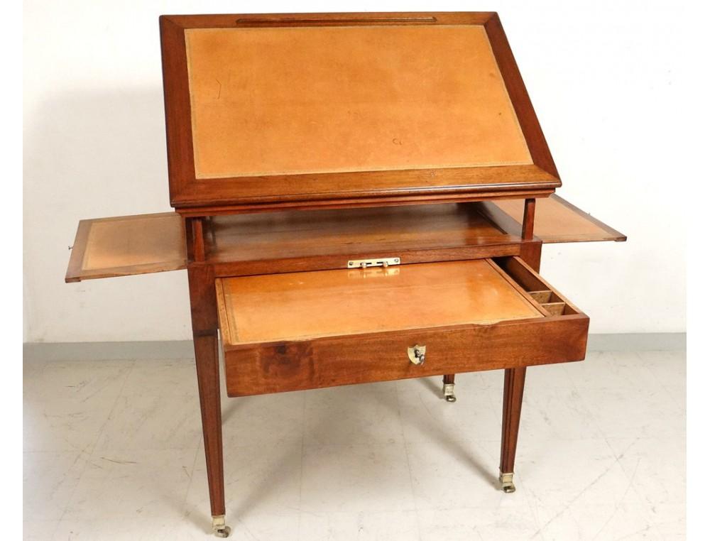 superbe table la tronchin bureau directoire acajou cuir xix me si cle. Black Bedroom Furniture Sets. Home Design Ideas