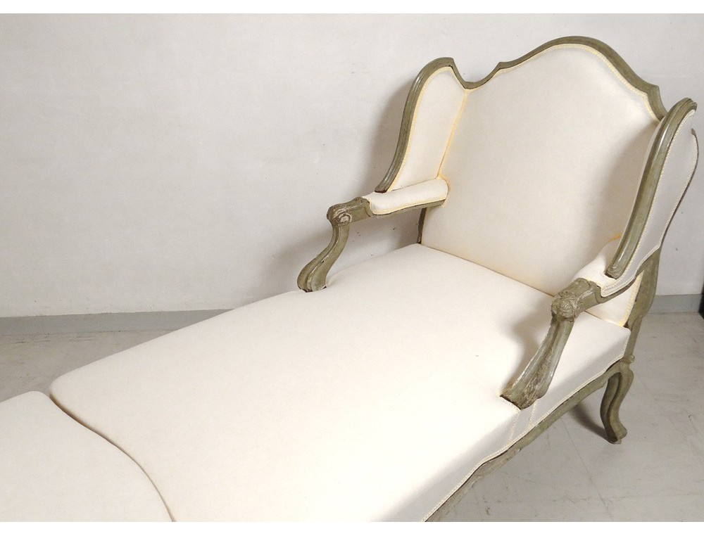 Deck chair louis xv carved lacquered wood duchess broken - Chaise longue en palette bois ...
