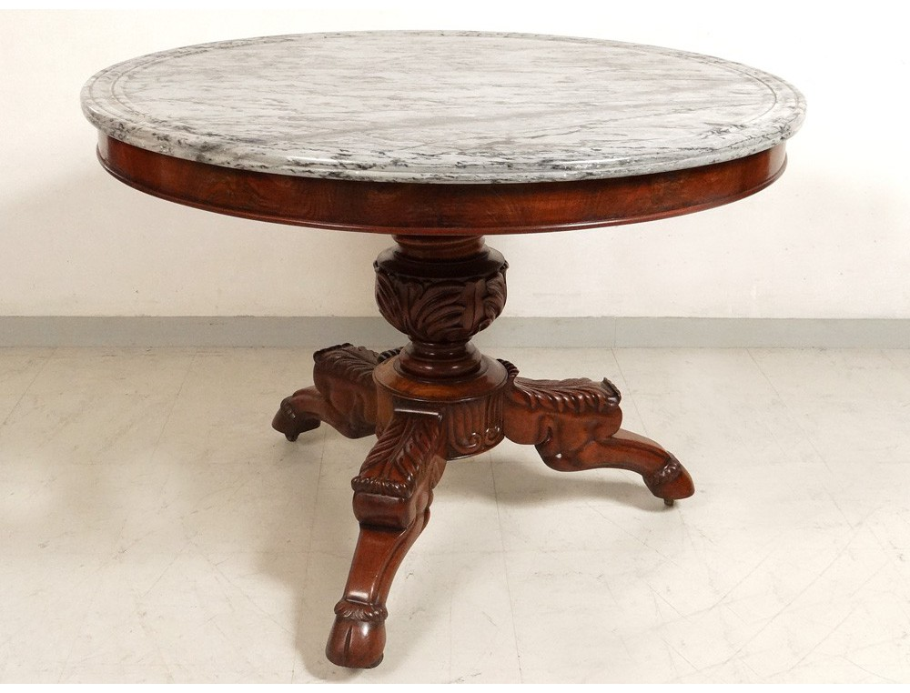 Pedestal table tripod solid mahogany cuba blue marble - Table bistrot ronde marbre ...